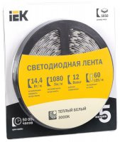 Лента LED 5м  блистер  LSR-5050WW60-14,4-IP20-12V IEK